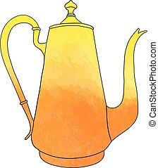 caffè, illustration., mano, acquarello, pot., vettore, disegnato