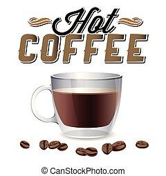 caffè, immagine, caldo, fagiolo, vettore, fondo