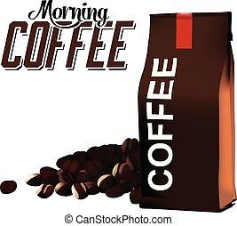 caffè, immagine, mattina, borsa, fagiolo, vettore, fondo, bianco