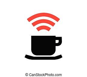 caffè internet, bianco, icona, vettore, fondo