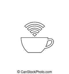 caffè, internet, contorno, icona