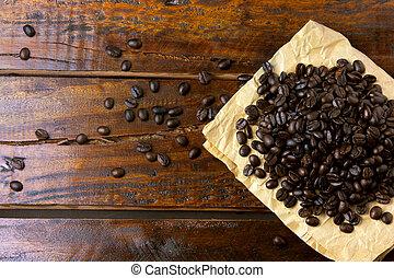 caffè, intorno, legno, sparso, rustico, carta, fagioli, arrostito, tavola