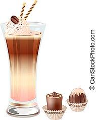 caffè, isolato, ghiaccio, vetro, fondo, bianco, crema