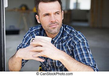 caffè, lavoratore, costruzione, fuori, ritratto, bere