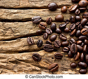 caffè, legno, fagioli, fondo