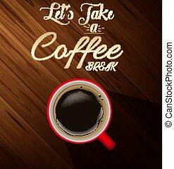 caffè, legno, fondo, struttura, tazza