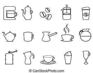 caffè, lineare, icona, set