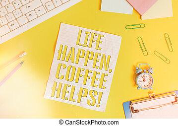 caffè, mano, paper., happen, disposizione, appartamento, ...