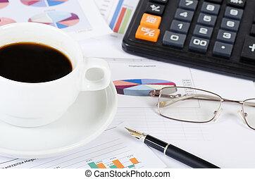 caffè, -, mattina, fresco, giornale, uomo affari