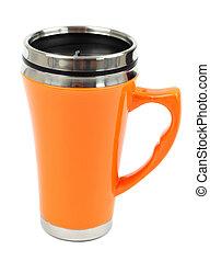 caffè, metallo, viaggiare, thermo-cup, isolato, tazza bianca