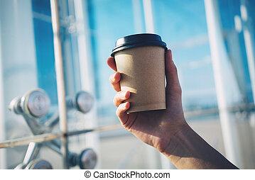 caffè, mockup, mano