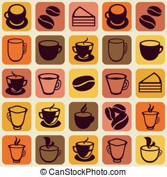 caffè, modello, seamless, vettore, tè, campanelle