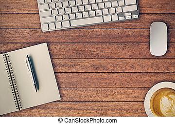 caffè, mouse., blocco note, spazio ufficio, tazza, computer, sopra, tavola, copia, vista