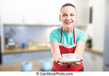 caffè, offerta, moglie, tazza, domestica, o