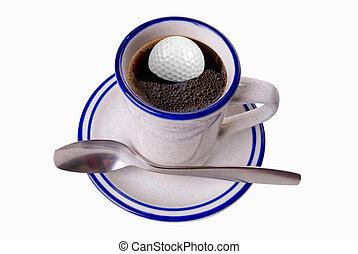 caffè, palla, golf, tazza