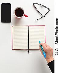 caffè, penna, testo, mano, quaderno, tazza, sfondo bianco, femmina, occhiali, telefono, vista, blu, cellula, presa a terra, cima, spazio aperto, rosso