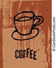 caffè, poster., tipografico, retro