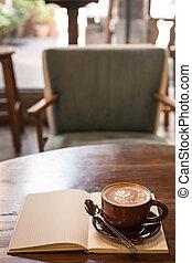 caffè, quaderno, grunge, fondo, tazza