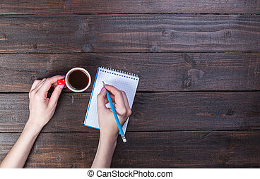 caffè, quaderno, presa a terra, cup., mani