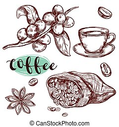 caffè, ramo, icona, set