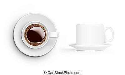 caffè, realistico, cima, tazza, fondo., bianco, vista laterale