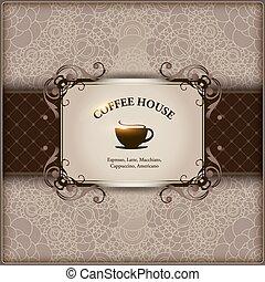 caffè, ristorante, menu, coffeehouse., sbarra