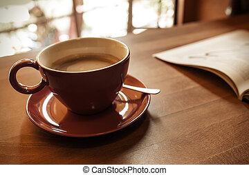 caffè, rivista, tazza