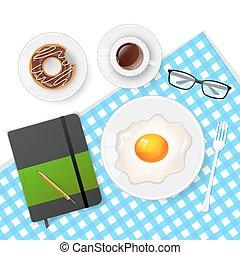 caffè, saporito, uova, colazione