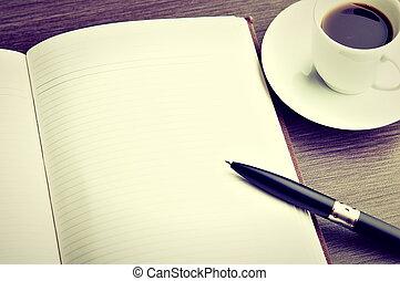 caffè, scrivania, penna, quaderno, vuoto, bianco, aperto