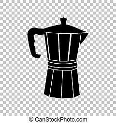 caffè, segno., illustration., vaso, fermentazione, fondo., nero, trasparente, icona
