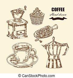 caffè, set., schizzo, illustrazione, mano, vettore, disegnato, stile