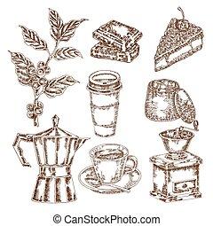 caffè, set., schizzo, illustrazione, mano, vettore,...