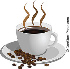 caffè, sfondo bianco, tazza