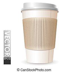 caffè, spazio, grande vetro, cartone, logo., vuoto