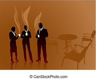 caffè, squadra affari, rottura, fondo, internet