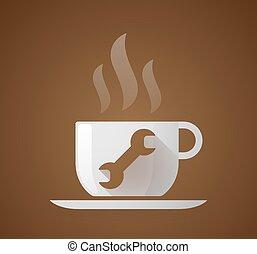 caffè, strappare, tazza