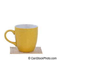 caffè, stuoia, tazza, isolato, ritaglio, giallo, percorso