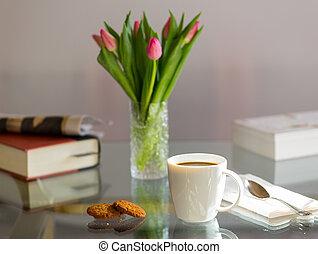 caffè, superato, vetro, tazza, nero, tavola, bianco
