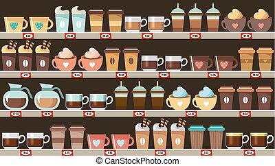 caffè, supermercato, mensole