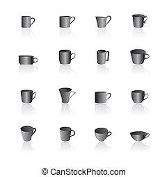 caffè tè, campanelle, icone