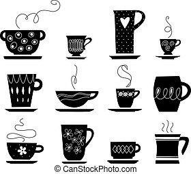 caffè tè, o, tazza