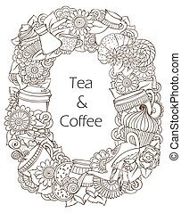 caffè tè, pattern., schizzo, doodles
