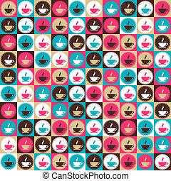 caffè tè, pattern., seamless, retro