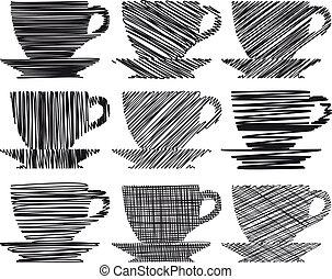 caffè tè, set, icona, tazza