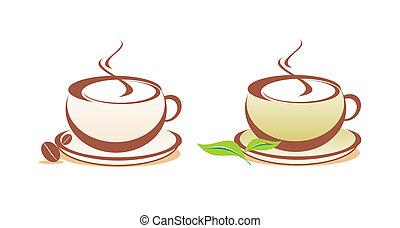 caffè tè, vettore, illustrazione