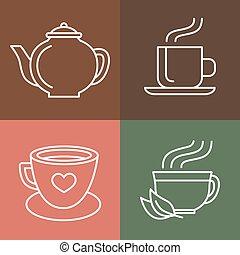 caffè tè, vettore, logos