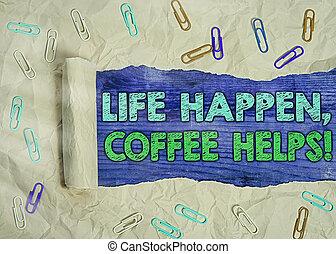 caffè, troubles., concetto, vita, mentre, testo, parola, ...