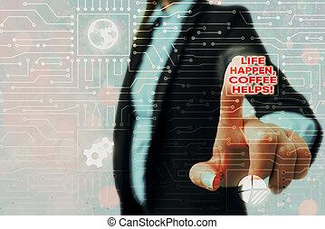caffè, troubles., vita, showcasing, foto, bere, mentre, ...