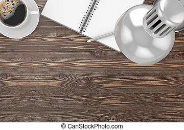 caffè, ufficio, cima, posto lavoro, roba, tavola, vista