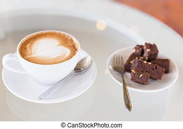 caffè, vecchio, tazza, legno, folletto buono, latte, torta calda, tavola